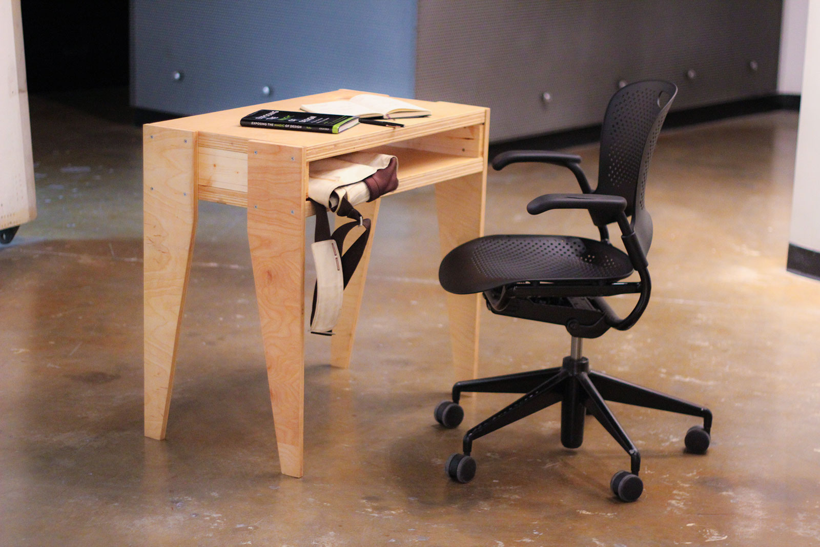 a desk made from reclaimed wood